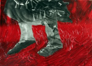 Spirit-Good Red, silver with oil paint, 16X20