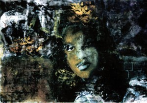 Portraits-Claudia,silver gelatin with oil paint, 16X20
