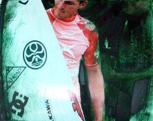 Surf- Andy Irons 1, RA print with oil paint, 16X20
