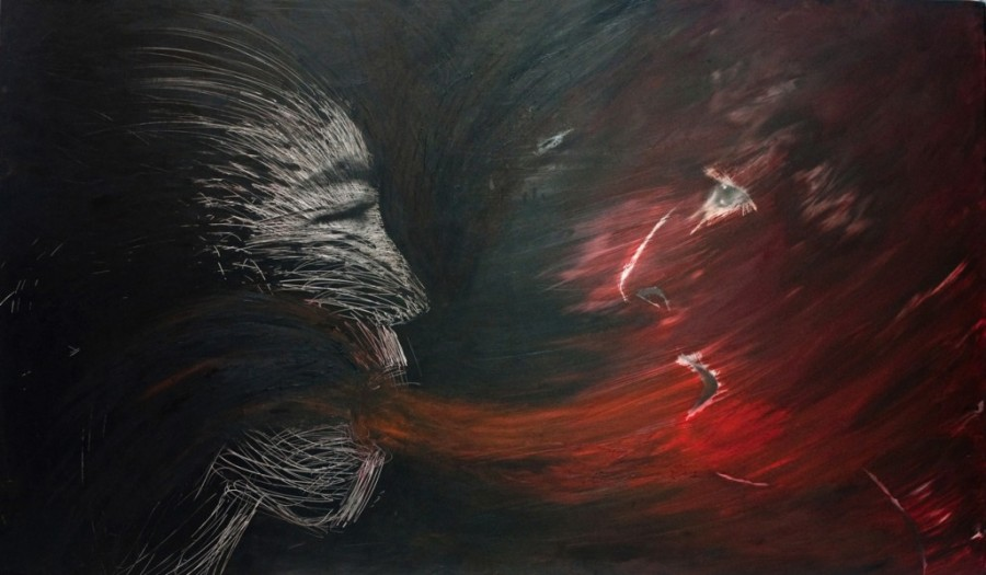 """Exposing-Anger, silver gelatin print with oil paint, 36""""x60.5"""""""
