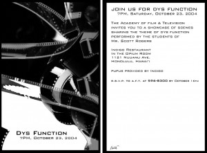 Dysfunction Invite: Design, Typography, Photo, by Faith Fay